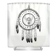 Native American Ceremonial Shield Number 2 Black And White Shower Curtain