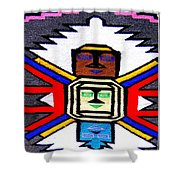 Native American Grey White Quilt Detail Shower Curtain