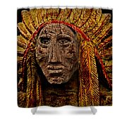 Native American In Wood 1886 Shower Curtain