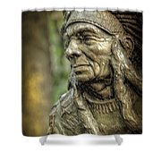 Native American Statue At Niagara Falls State Park Shower Curtain