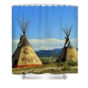 Native American Teepees  Shower Curtain