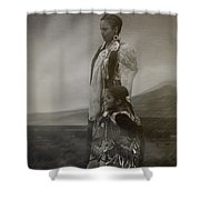 Native American Two Woman Bw Shower Curtain