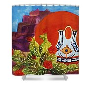 Native American Wedding Vase And Cactus Shower Curtain