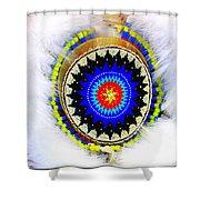 Native American White Fur Headdress Shower Curtain