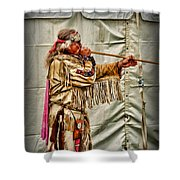 Native American With Blowgun Shower Curtain