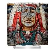 Native American Wood Carving Shower Curtain