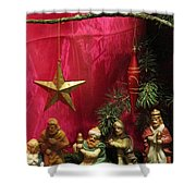 Nativity Scene In Red Shower Curtain