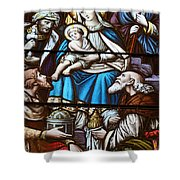 Nativity Stained Glass Shower Curtain