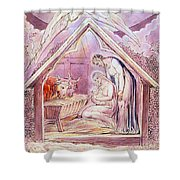 Nativity With Two Angels Shower Curtain
