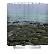 Natural Forming Pentagon Rock Formations Of Kumejima Okinawa Japan Shower Curtain