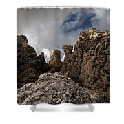 A Stunning Rock Wall Becomes A Wild Nature Sculpture In North Coast Of Minorca Europe Shower Curtain
