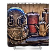 Nautical - Antique Dive Helmet Shower Curtain