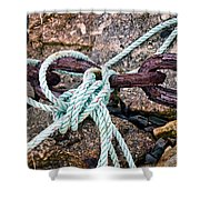 Nautical Lines And Rusty Chains Shower Curtain