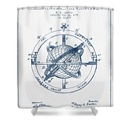 Nautical Observation Apparatus Patent From 1895  -  Blue Ink Shower Curtain