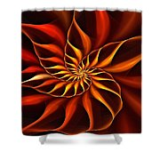 Nautilus Fractalus Fire Shower Curtain