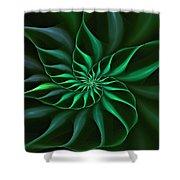 Nautilus Fractalus Verdant Green Shower Curtain