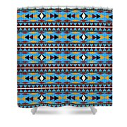 Navajo Blue Pattern Shower Curtain