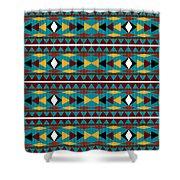 Navajo Teal Pattern Shower Curtain