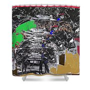 Navajo With His Donkey Bearing Wood Collage Inter-tribal Indian Rodeo Gallup Nm 1969-2012 Shower Curtain