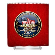 Naval Special Warfare Development Group - D E V G R U - Emblem On Red Shower Curtain
