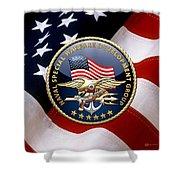 Naval Special Warfare Development Group - D E V G R U - Emblem Over U. S. Flag Shower Curtain