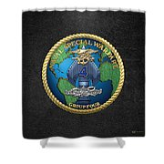 Naval Special Warfare Group Four - N S W G-4 - On Black Shower Curtain