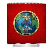 Naval Special Warfare Group Four - N S W G-4 - On Red Shower Curtain