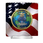 Naval Special Warfare Group Four - N S W G-4 - Over U. S. Flag Shower Curtain