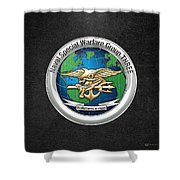 Naval Special Warfare Group Three - Nswg-3 - On Black Shower Curtain