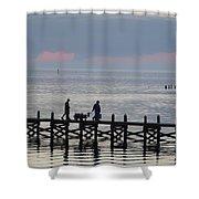Navarre Beach Sunset Pier 12 Shower Curtain