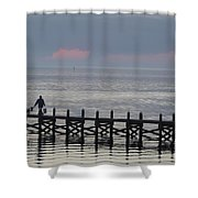 Navarre Beach Sunset Pier 14 Shower Curtain