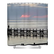Navarre Beach Sunset Pier 17 Shower Curtain