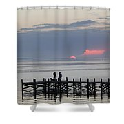 Navarre Beach Sunset Pier 22 Shower Curtain