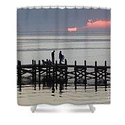 Navarre Beach Sunset Pier 25 Shower Curtain