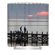 Navarre Beach Sunset Pier 27 Shower Curtain