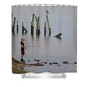 Navarre Beach Sunset Pier 4 Shower Curtain