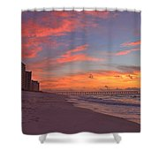 Navarre Pier And Navarre Beach Skyline At Twilight Shower Curtain