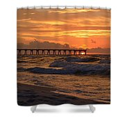 Navarre Pier At Sunrise With Waves Shower Curtain