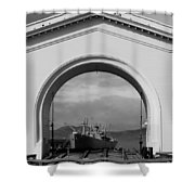 Navy Archway Shower Curtain