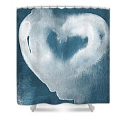 Navy Blue And White Love Shower Curtain