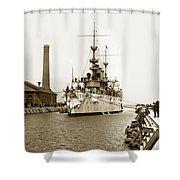 Navy Cruiser Uss New York Going Into Dry Dock San Francisco Circa 1903 Shower Curtain