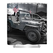 Navy Jeep Shower Curtain