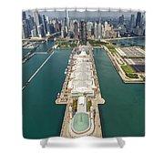 Navy Pier Chicago Aerial Shower Curtain by Adam Romanowicz