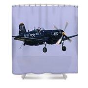 Navy Plane Shower Curtain