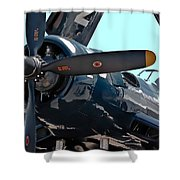 Navy Props Shower Curtain