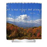 Nc Mountains With Scripture Shower Curtain