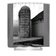 Near Infrared Old Michigan Barn With Silos Bw Usa Shower Curtain