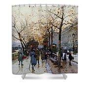 Near The Louvre Paris Shower Curtain by Eugene Galien-Laloue