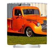 Neat Vintage Chevrolet Truck In Bright Orange Shower Curtain