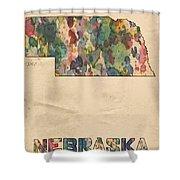 Nebraska Map Vintage Watercolor Shower Curtain